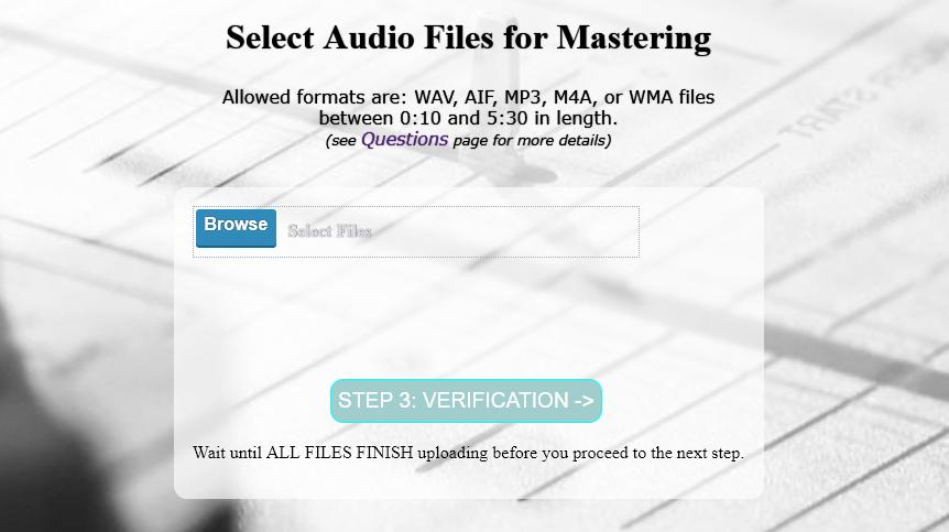 upload files for online mastering